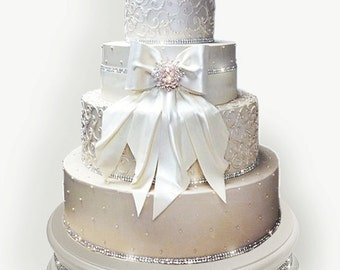 18 inch Ivory Pearl Diamond Wedding Cake Stand