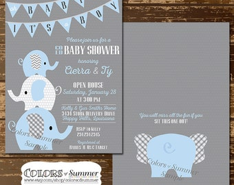 elephant baby shower invitations | etsy, Baby shower invitations