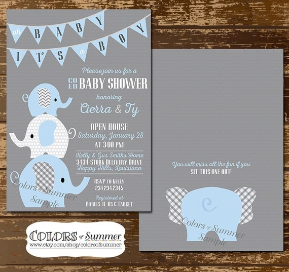 elephant baby shower invitation co ed baby shower invitation blue