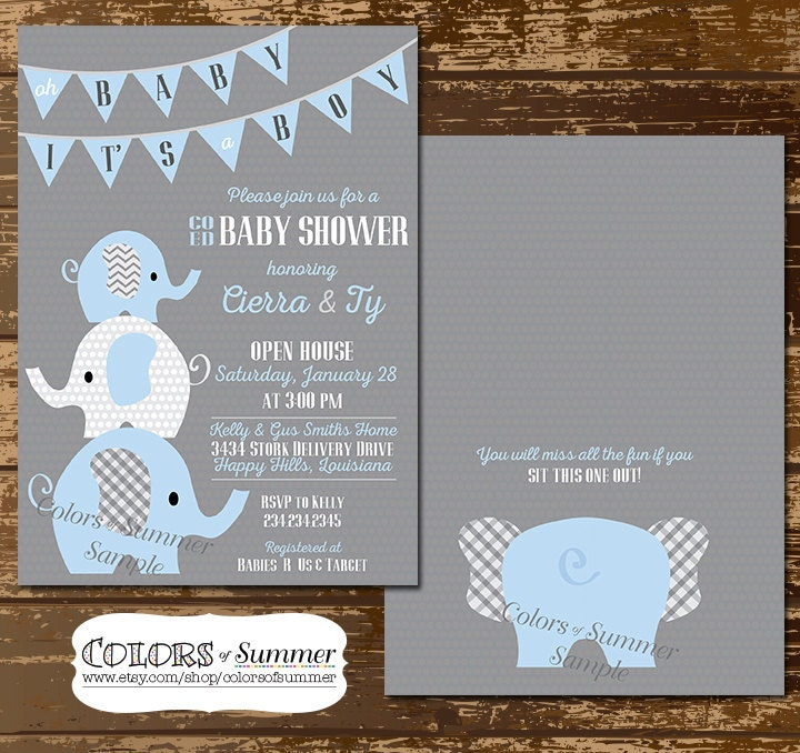 elephant baby shower invitation co ed baby shower invitation