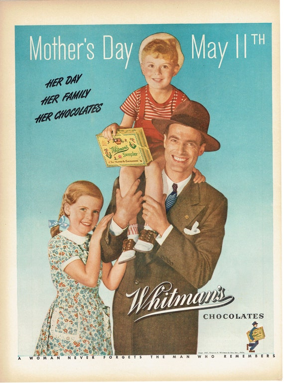 1947 Whitman's Sampler Chocolate Candy Mother's Day Advertisement