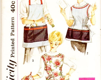 Simplicity 3206 Misses' and Men's Vintage 1950s Apron and Pot Holder Sewing Pattern