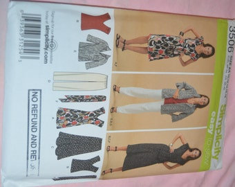 Simplicity 3506 Misses Dress or Top Skirt Pants Jacket and Tie Belt Sewing Pattern - UNCUT - Sizes 10 - 18