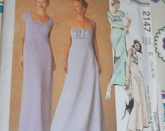 McCalls 2147 Evening Elegance  Misses Lined Dress in Two Lengths Sewing Pattern - UNCUT Size 10 12 14