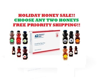 Holiday Honey Sale - FREE US SHIPPING - Pick any 2 Herbal Honeys! organic, infused, raw, gourmet, flavored, fair trade, kosher,