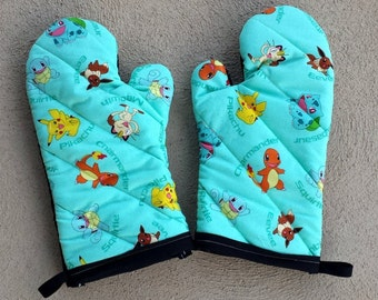 Pokemon Oven Mitts and Pot Holders - Pokemon Decorations - Pokemon Kitchen - Pokemon House Warming Gift - Pokemon Wedding Gift