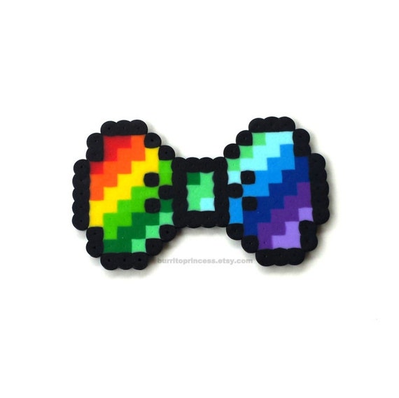 Rainbow Hair Bow Rainbow 8 Bit Bow Rainbow Bow Tie