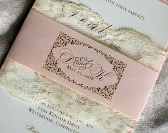 Pink And Gold Invitations, Blush Wedding Invitation, Blush Gold Wedding  Invitation Set, Peach