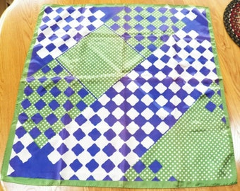 Vintage Scarf~PARIS NECKWEAR 27 x 27~Purple/Green/White Acetate JAPAN Exc!