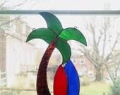 Palm Tree and Surf Boards Stained Glass Suncatcher - Beach Decor - Coastal Decor - Tropical Decor - Housewarming Gift - Nautical Decor