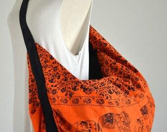 Orange Cotton Tote Bag Hippie Bag Boho Hobo Crossbody Bag Elephant Shoulder Bag Diaper Bag Messenger Bag Beach Bag Travel Bag Gym Yoga Bag
