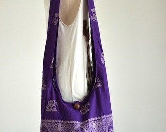 Purple Elephant Bag Hippie Hobo Bag Sling Crossbody Bag Boho Bag Shoulder Bag Messenger Bag Cotton Bag Purse Tote Bag Tote Handbags