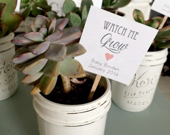25- Watch Me Grow Succulent Favor Tags, Wedding Favor tags