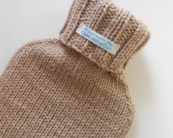 TheCraftyElks: Hand Knitted Hot Water Bottle Cover (Cosy) in Latte/Beige - Wool Blend