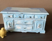 Painted Jewelry Box - Vintage Jewelry Box - Blue White Painted Jewelry Storage Box Armoire - Musical - Raindrops are Falling on My Head