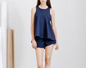 Linen Loose Top / Summer Tank Top / Navy Blue Linen Blouse / Full Flared Top  Sleeveless Top / Evening Top / Resort Wear