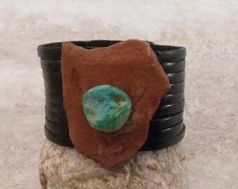 Sedona Rock Turquoise On Leather Bracelet