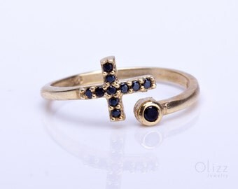 Gold Cross Ring, Sideways Cross Ring, Black Stone Ring, Stacking Rings Gold, Adjustable Ring, Cross Jewelry, Black Ring, Dainty Ring,| Nysus