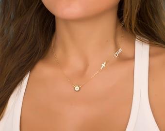 Evil Eye necklace / Gold sideways cross necklace / Cross necklace / Protection necklace/ Gold layered necklace/ Gold filled necklace Eusebia