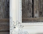 On SALE: Baroque picture frame, 8 x 10, Ornate, White, Wedding, Nursery,Shabby Chic , Frame with Glass and Backing (Los Angeles)