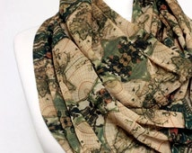 Old Map Pattern Chiffon Infinity scarf, Worldmap Scarf, Scarves, Loop Scarf, Gift Ideas For Her Women Fashion Accessories