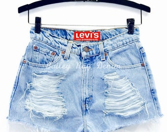 High Waisted denim shorts Levis distressed shorts - Dark Wash - Sizes US 0 - 20 Womens