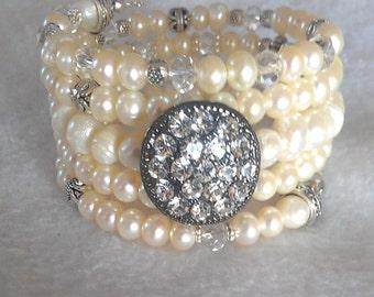 Ivory Freshwater Pearl wrap bracelet