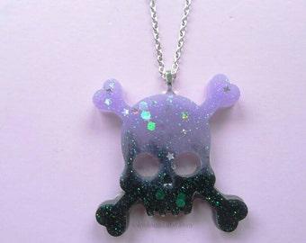 Purple to Black Fade Glitter Skull and Crossbones Necklace- Kawaii- Gothic- Pastel Goth- Gothic Lolita-JFashion- Fairy Kei- Creepy Cute
