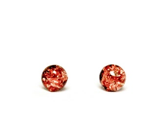 Copper leaf tiny stud earrings 4mm - tiny stud earrings with copper leaf foil in resin on hypoallergenic stainless steel posts and backings