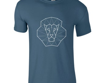 Men lion t-shirt, geometric animal, hipster shirt, king tee