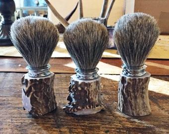 Antler Handle Badger Hair Shaving Brush with Chrome Collar