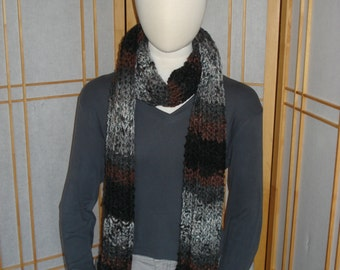 Brown/Grey/Black Thick Ribbed Scarf