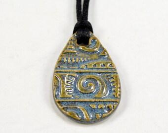 Ceramic Pendant Focal Bead Teardrop Necklace Pottery Jewelry Blue