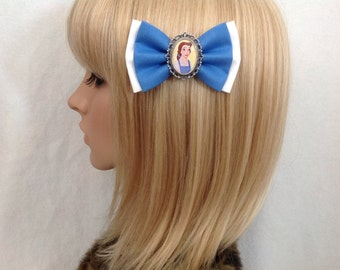 Princess Belle beauty and the beast peasant dress blue white hair bow clip rockabilly psychobilly disney kawaii pin up fabric pretty girls