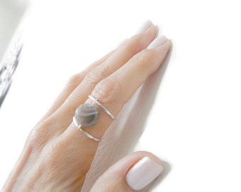 Sterling Silver Ring Agate Ring Boho Chic Woman Ring Handmade Jewelry Fall Jewelry Under 30