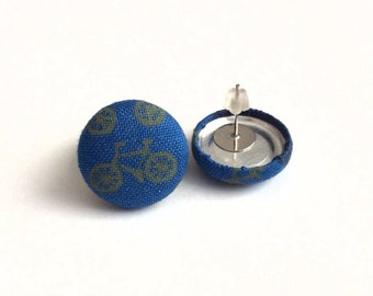 Mini bicycle biker blue fabric button earrings