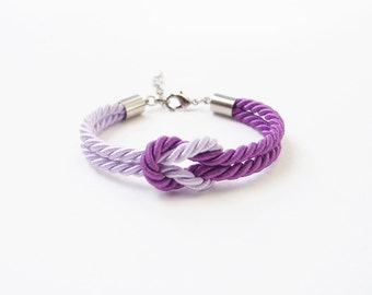 Marine knot bracelet - summer bracelet - purple lilac - nautical bracelet - lavender - bridesmaid jewelry - beach jewelry