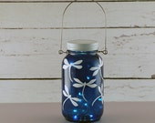 RESERVED for Mary.   Blue and white dragonfly Mason jar lantern, hand painted.