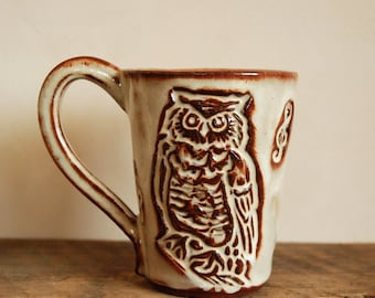 Night Owl / Great Horned Owl / Music  - Medium Mug - Stoneware - Printing in Clay