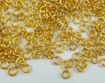 4mm Gold Jump Rings, 21 gauge Gold Jump Rings - (4mm/21g-G) - Select Qty. from Options