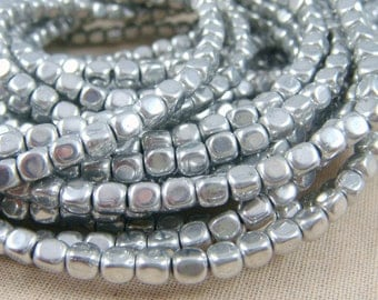 Czech Beads, 4mm Czech Glass Beads - Metallic Silver (RC4/SM-27000) - Rounded Cube Beads - 4mm - Qty. 100