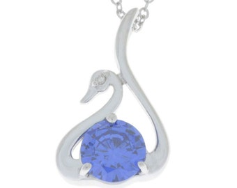 Tanzanite & Diamond Swan Pendant .925 Sterling Silver