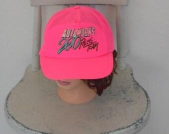 Hot Pink / Neon Pink 'Auto Works Racing Team' Snap Back Trucker Cap / Hat