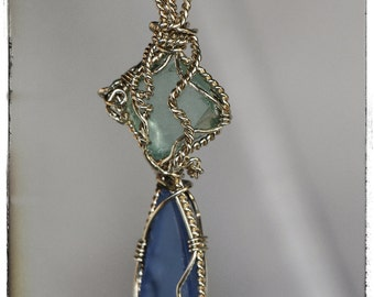 Beach Glass in Green and Blue Wire Wrapped in Sterling Silver....SALE