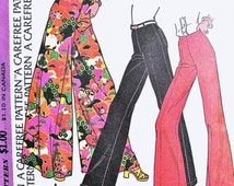70s DISCO McCalls 3657 Bell Bottom Wide Leg Pants n Palazzo Pants Glam Rock Elephant Pants  Day or Evening Waist 28 Vintage Sewing Pattern