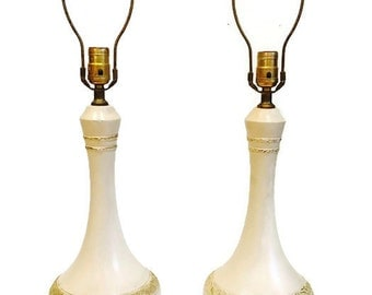 Mid Century Lamp Pair Chalkware Style MCM Set All Original Atomic Console Lamps Tall Genie Style