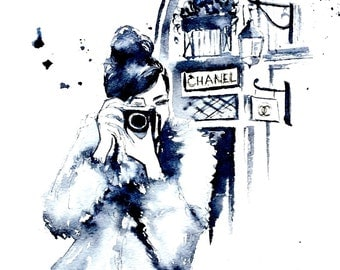 Parisian Chanel Fashion Watercolor - Paris Illustration - Chanel in Paris - Lana Moes Art - Coco Fashion - Chanel House - Camera Girl