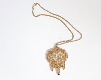Vintage Modernist Brutalist Gold Tone Statement Necklace