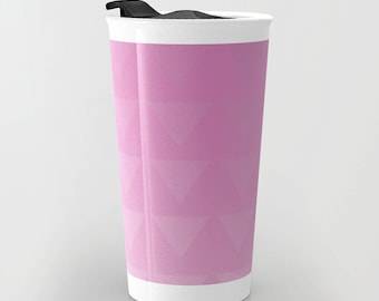 Pink Travel Mug - Pink Triangle Art - Coffee Travel Mug - Hot or Cold Travel Mug - 12oz Travel Mug -Made to Order