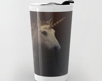 Unicorn Travel Mug - Fantasy Unicorn Photo Art - Coffee Travel Mug - Hot or Cold Travel Mug - 12oz Travel Mug -Made to Order